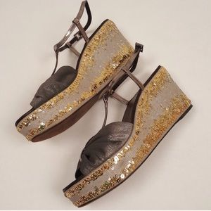 EUC Gunmetal leather embellished wedge sandals